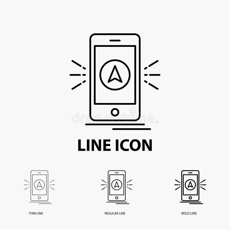 Navigation, App, Kampieren, gps, Standort Ikone in der dünnen, regelmäßigen und mutigen Linie Art Auch im corel abgehobenen Betra vektor abbildung