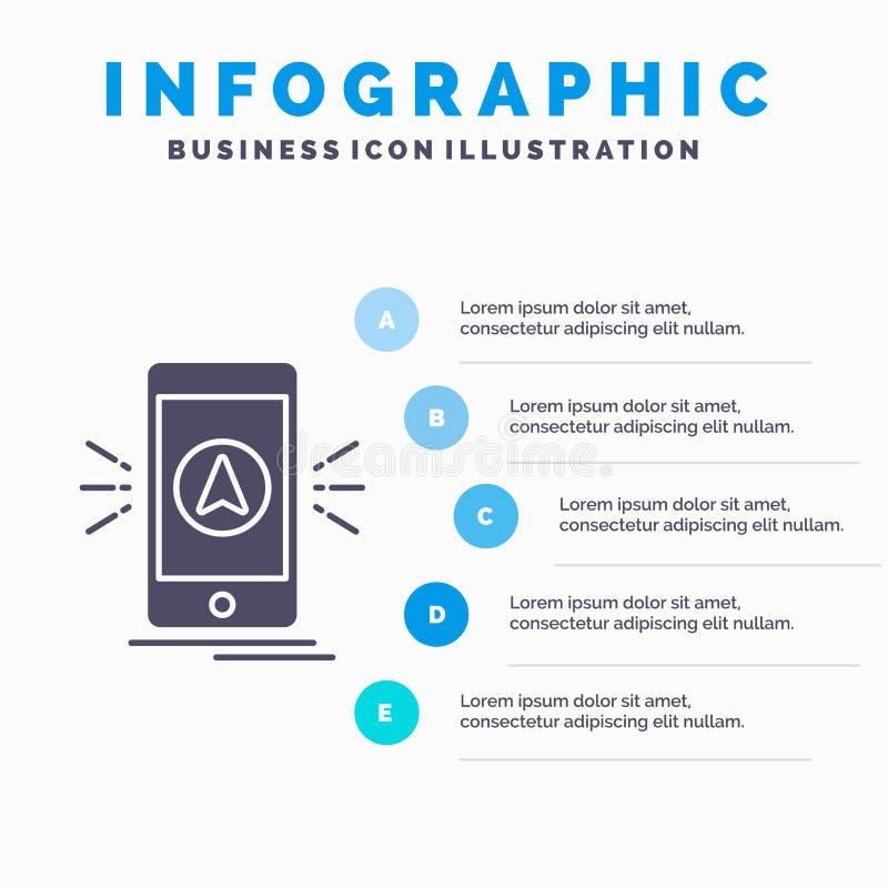 Navigation, App, Kampieren, gps, Standort Infographics-Schablone für Website und Darstellung Graue Ikone des GLyph mit blauem inf stock abbildung