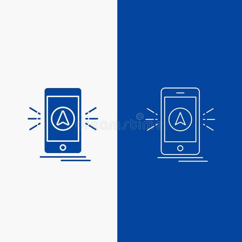 Navigation, App, Kampieren, gps, Standort Linien- und Glyphnetz Knopf in der blaue Farbevertikalen Fahne für UI und UX, Website o stock abbildung