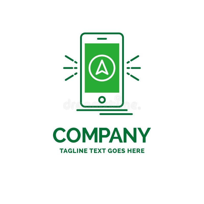Navigation, App, kampierend, gps, Standort flaches Geschäfts-Logo templ stock abbildung