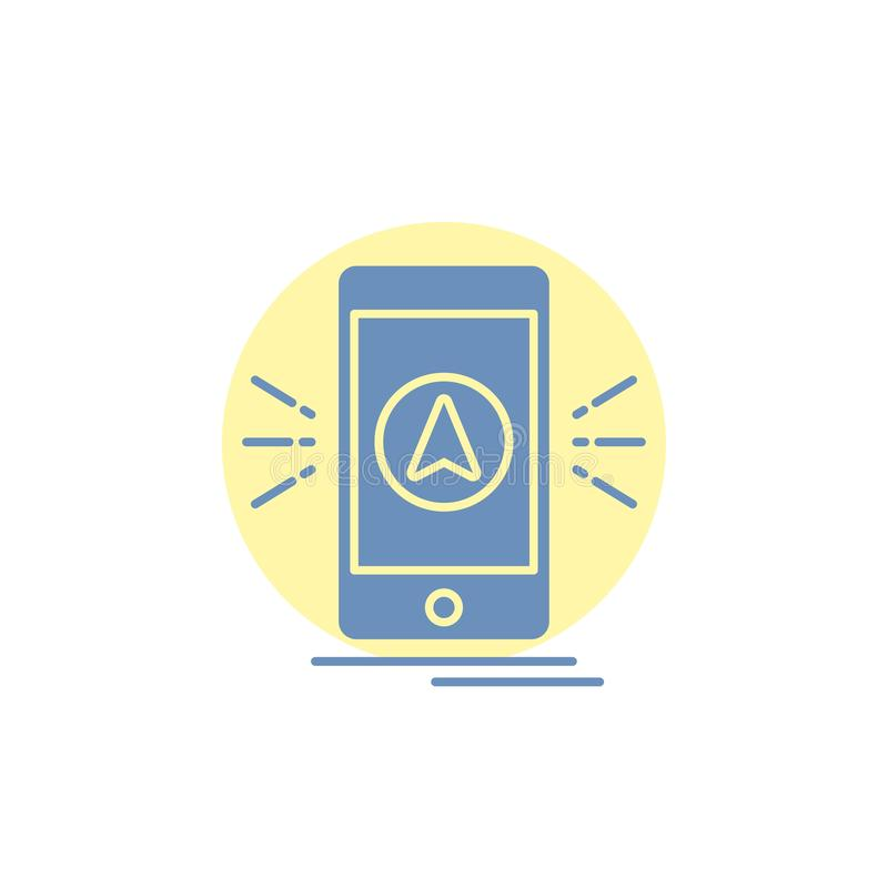 Navigation, App, kampierend, gps, Standort Glyph-Ikone vektor abbildung