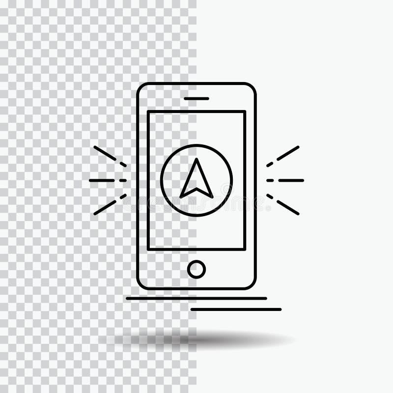 Navigation, App, kampierend, gps, Standort Linie Ikone auf transparentem Hintergrund Schwarze Ikonenvektorillustration vektor abbildung