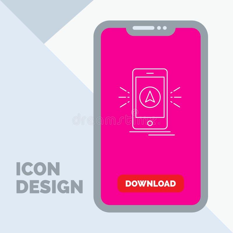 Navigation, App, kampierend, gps, Standort Linie Ikone im Mobile für Download-Seite stock abbildung