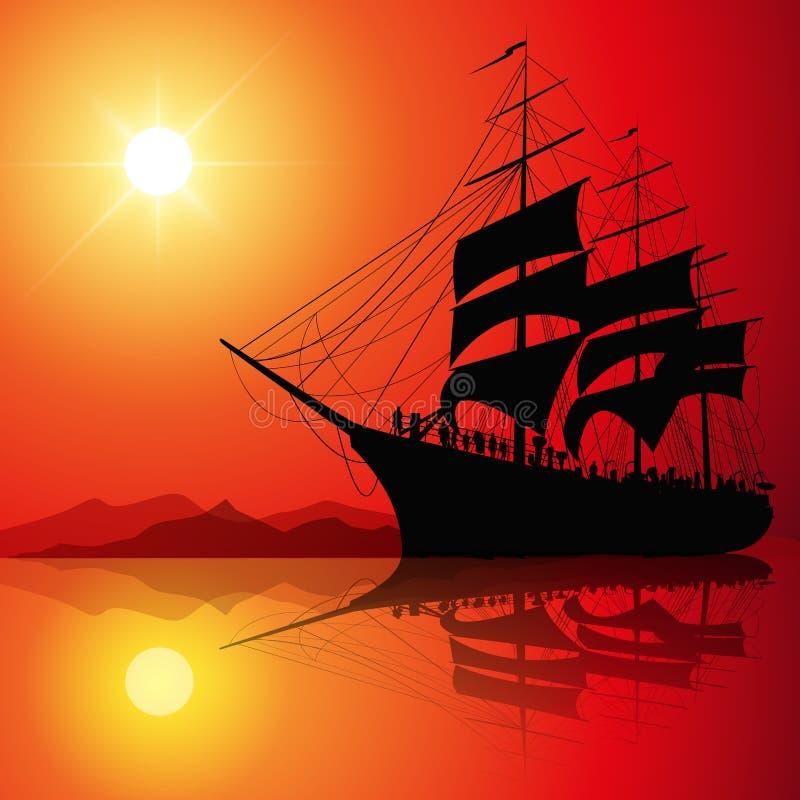 Navigation au coucher du soleil illustration de vecteur