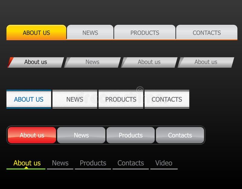 Navigation bar templates. On black background vector illustration