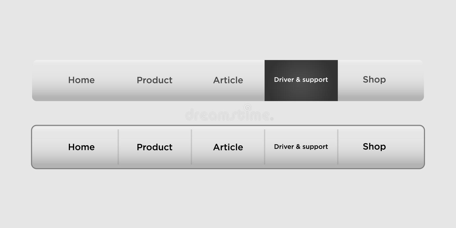 Navigation bar templates with black hover button. Web elements vector header on gray background vector illustration