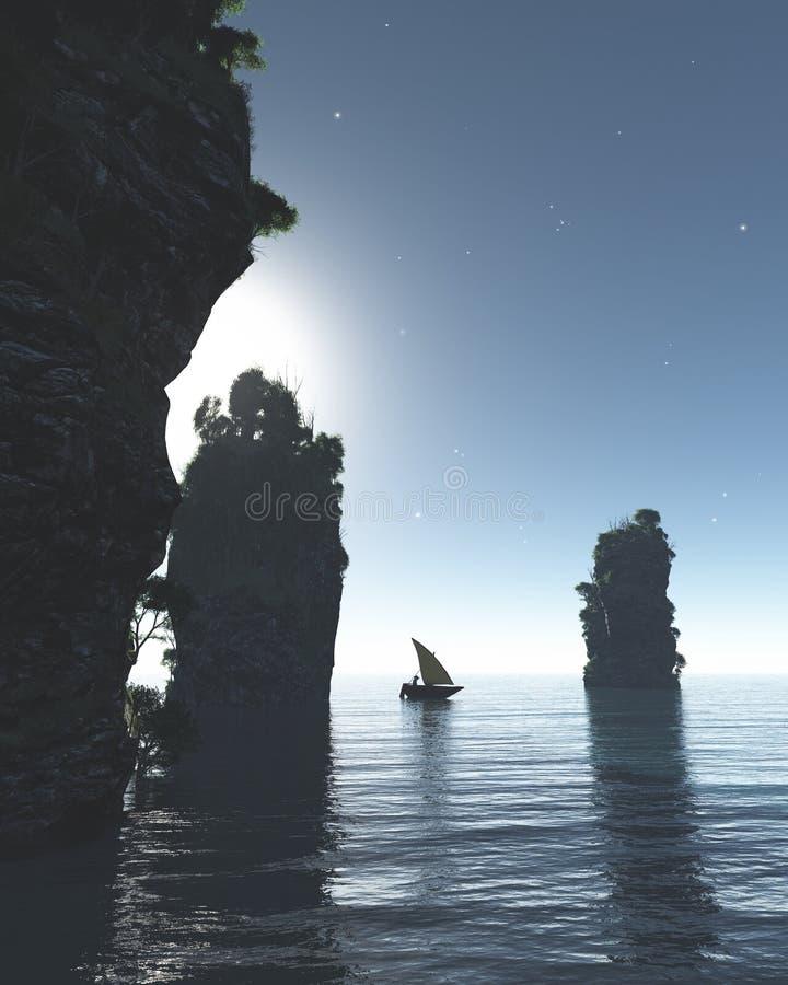 Navigation chinoise de bateau de pêche par les piles géantes de mer la nuit illustration libre de droits
