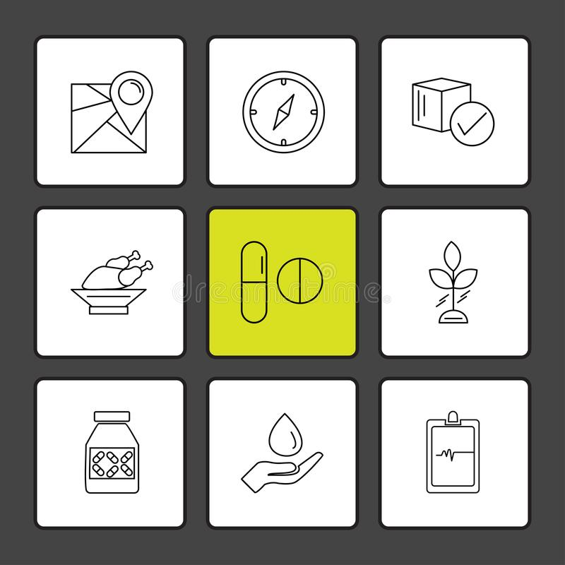 Navigation , compass , medicine , ecg , fruits , health , fitness , medical , food eps icons set vector. Navigation , compass , medicine , ecg , fruits , health vector illustration
