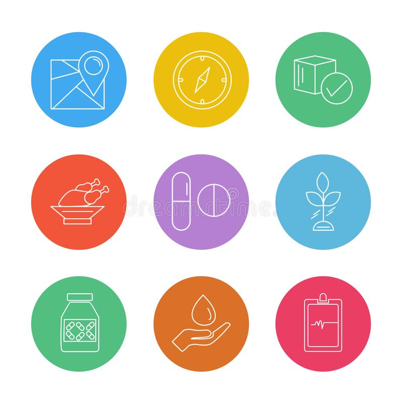 Navigation , compass , medicine , ecg , fruits , health , fitness , medical , food eps icons set vector. Navigation , compass , medicine , ecg , fruits , health stock illustration