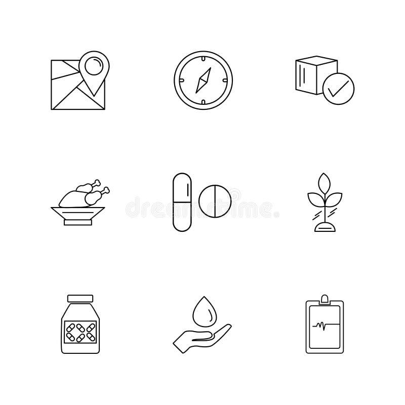 Navigation , compass , medicine , ecg , fruits , health , fitness , medical , food eps icons set vector. Navigation , compass , medicine , ecg , fruits , health stock illustration