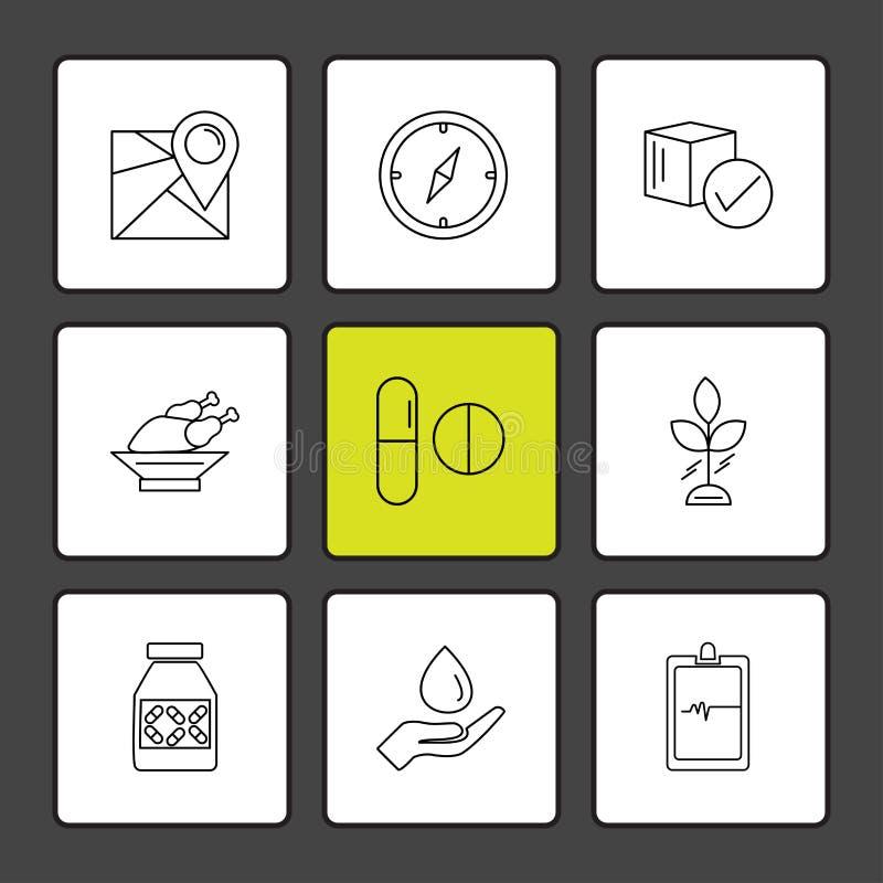 Navigation , compass , medicine , ecg , fruits , health , fitness , medical , food eps icons set vector. Navigation , compass , medicine , ecg , fruits , health vector illustration