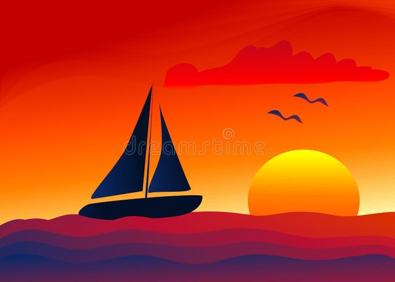 Navigation dans le coucher du soleil illustration stock