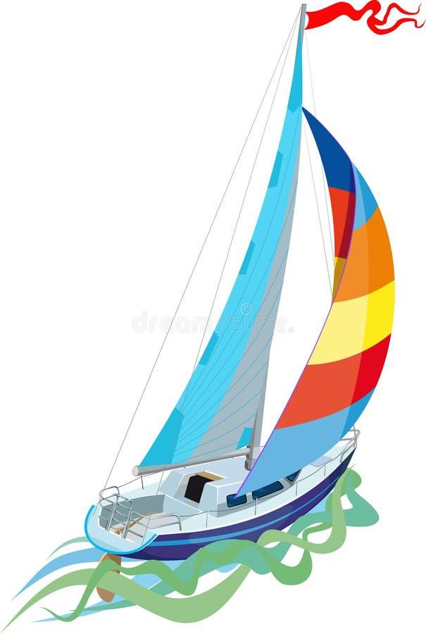 Navigation dans le yacht de voile illustration stock