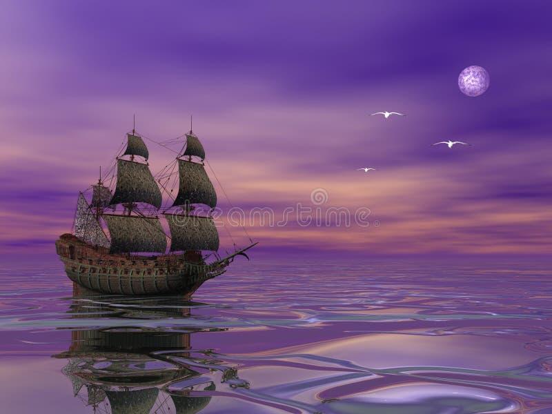 Navigation de bateau de pirate dans le clair de lune illustration de vecteur