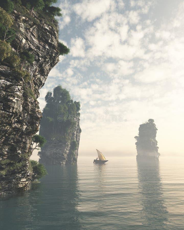 Navigation de bateau de pêche par les piles géantes de mer illustration de vecteur