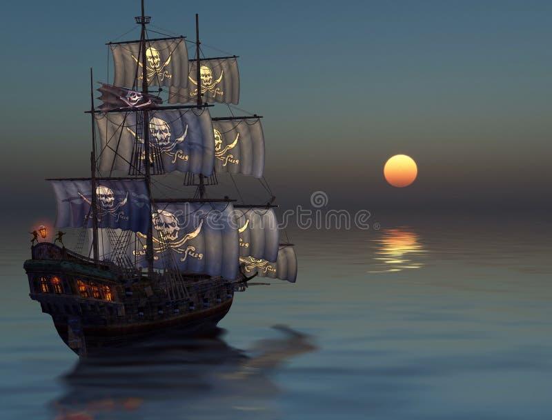 Navigation de bateau de pirate dans le coucher du soleil illustration libre de droits