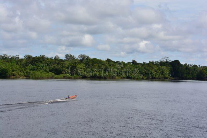 Navigation de bateau sur le fleuve Amazone, Pérou photos stock