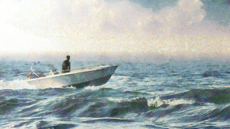 Navigation de canot automobile sur la mer illustration de vecteur