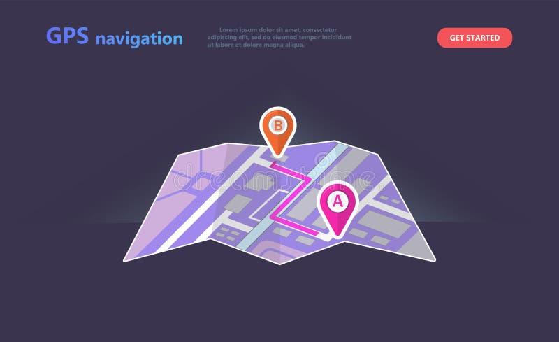 Navigation de GPS de concept, emplacement de point sur une carte de ville illustration de vecteur