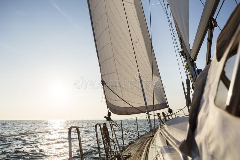 Navigation de luxe de bateau à voile en mer ouverte pendant le lever de soleil photos libres de droits