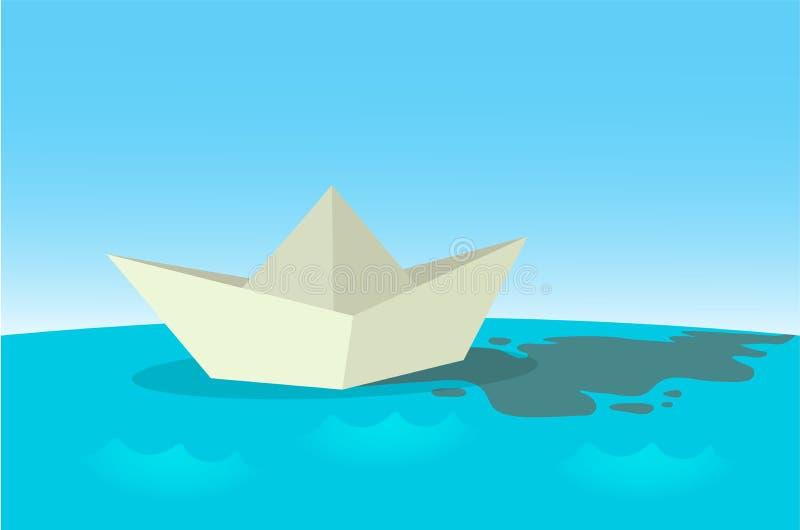 Navigation de papier de bateau sur la surface de l'eau bleue Illustration plate de vecteur, horizontale illustration stock