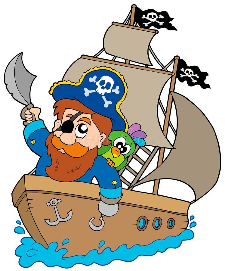 Navigation de pirate sur le bateau illustration de vecteur