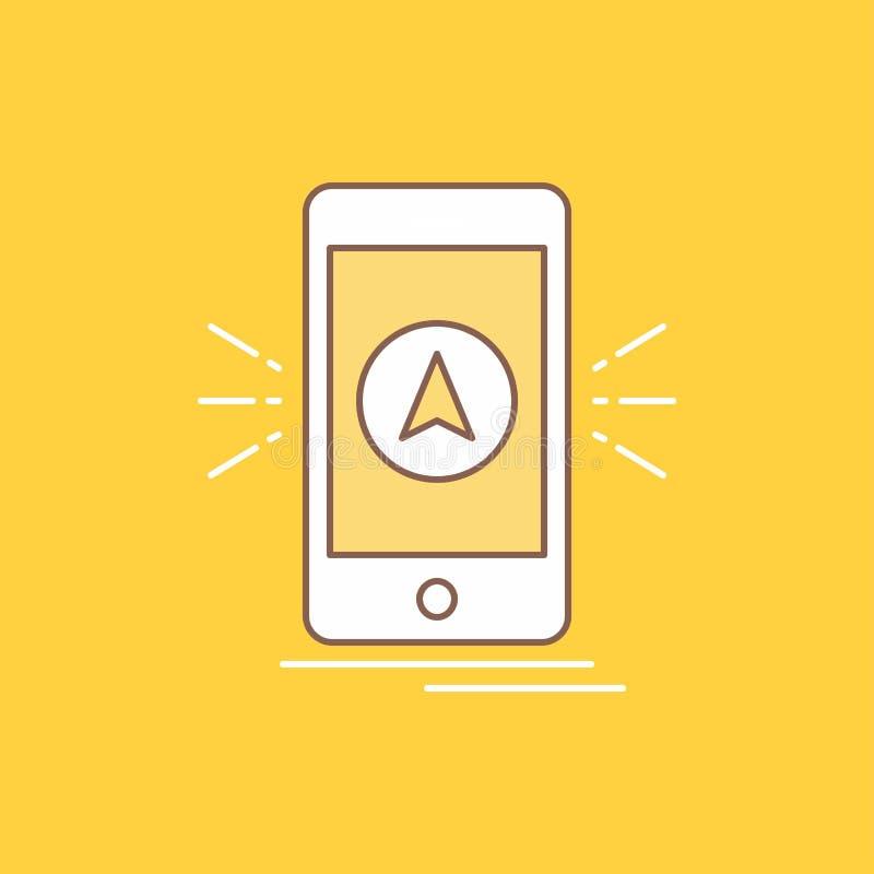 Navigation, der App, kampierend, gps, Standort flache Linie füllte Ikone Sch?ner Logoknopf ?ber gelbem Hintergrund f?r UI und UX, lizenzfreie abbildung