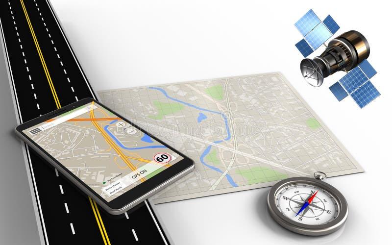 Navigation des Telefons 3d stock abbildung