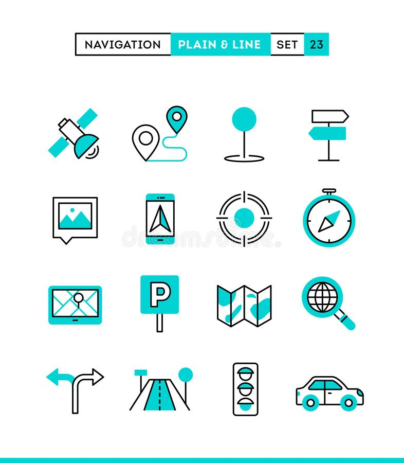 Navigation, direction, maps, traffic and more. royalty free illustration