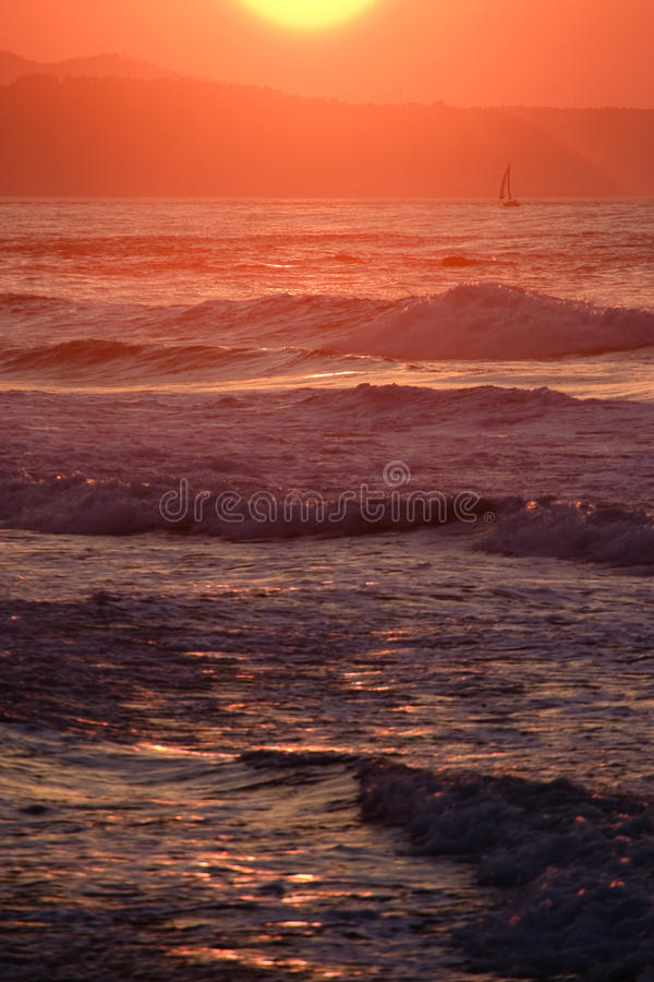 Navigation du coucher du soleil images stock