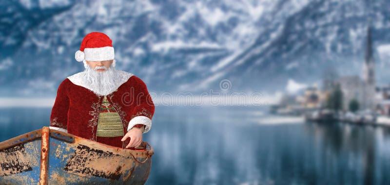 Navigation du père noël de Joyeux Noël dans un bateau de bébé sur un goût dans un paysage froid de montagne d'hiver photos stock
