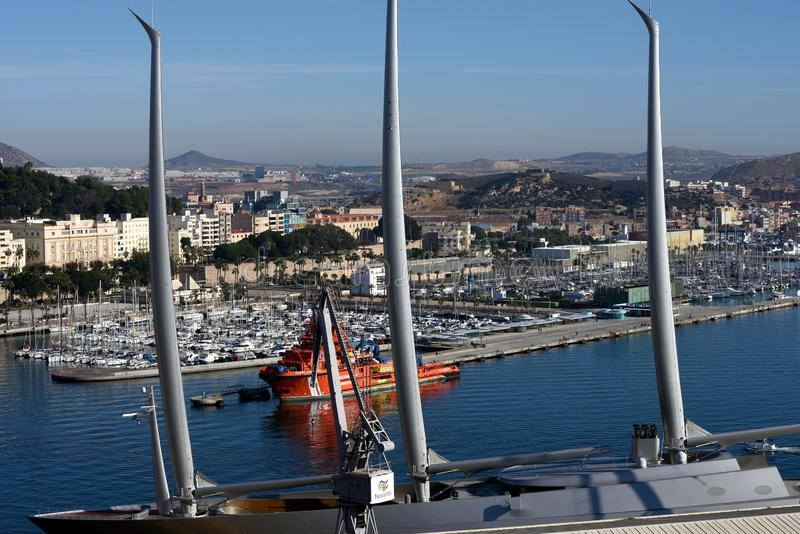 Navigation du yacht A à Carthagène photos stock