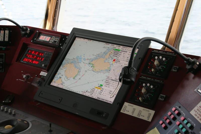 Navigation equipment on bridge stock images