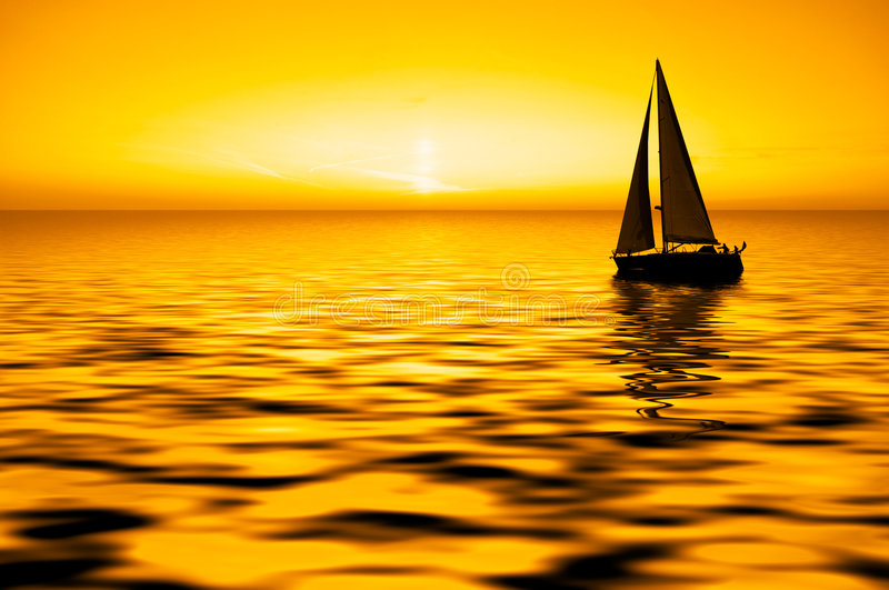 Navigation et coucher du soleil photos libres de droits