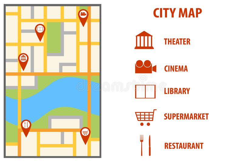 Navigation european city map with pins. Vector city map with color pin pointers. City map with red markers. royalty free illustration