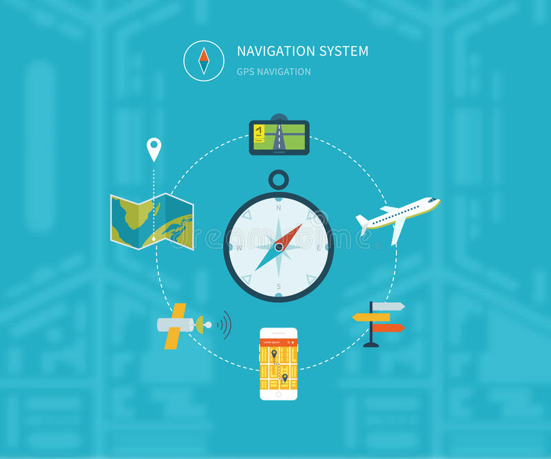 Navigation flat icons set with service search gps royalty free illustration