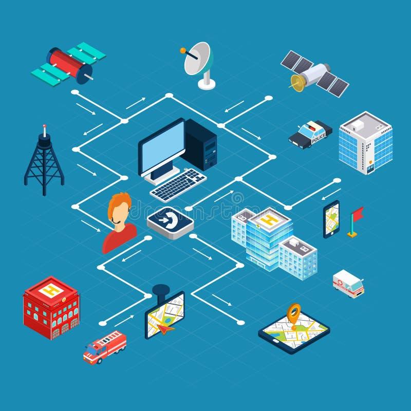 Navigation Isometric Flowchart. Navigation flowchart with search symbols on blue background isometric vector illustration royalty free illustration