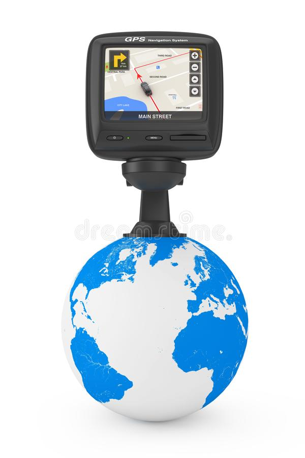 Navigation and Global Positioning System GPS Device with Blank S. Navigation and Global Positioning System GPS Device with with Navigation City Map on the Screen stock illustration