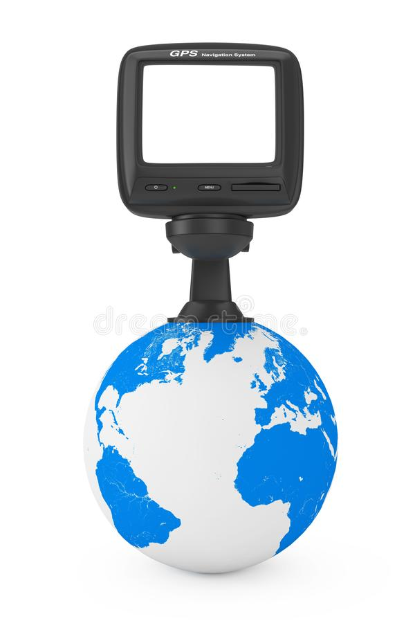 Navigation and Global Positioning System GPS Device with Blank S. Creen over Earth Globe on a white background. 3d Rendering stock illustration
