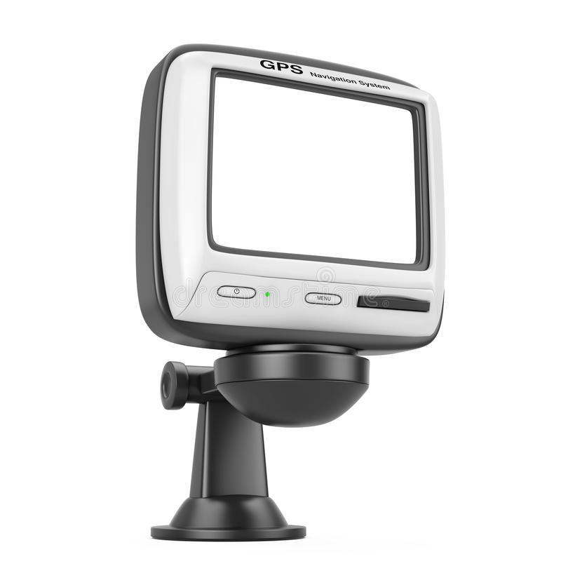 Navigation and Global Positioning System GPS Device with Blank S. Creen on a white background. 3d Rendering royalty free illustration