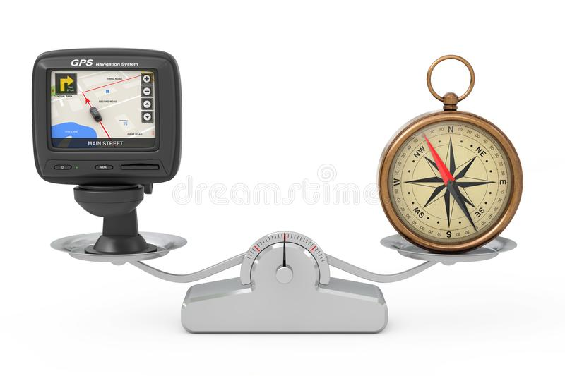 Navigation and Global Positioning System GPS Device with City Ma. P on the Screen and Bronze Vintage Compass with Windrose Balancing on a Simple Weighting Scale vector illustration