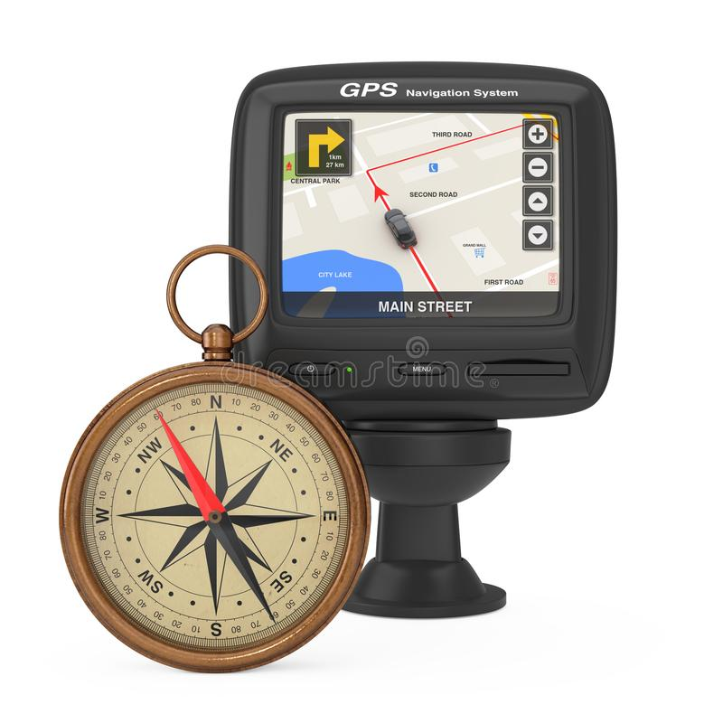 Navigation and Global Positioning System GPS Device with Navigation City Map on the Screen near Glossy Bronze Vintage Compass wit. H Windrose on a white vector illustration