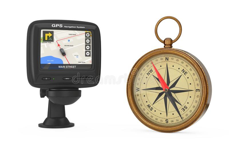 Navigation and Global Positioning System GPS Device with Navigation City Map on the Screen near Glossy Bronze Vintage Compass wit. H Windrose on a white royalty free illustration
