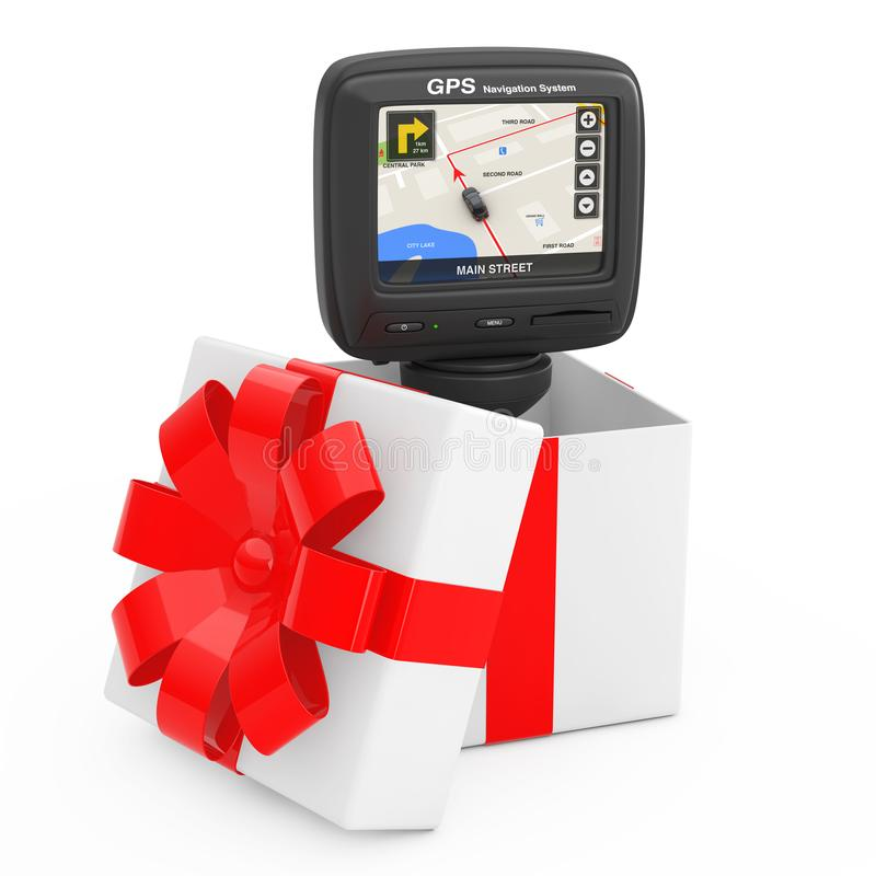 Navigation and Global Positioning System GPS Device with Navigation City Map on the Screen Come Out of the Gift Box with Red. Ribbon on a white background. 3d vector illustration
