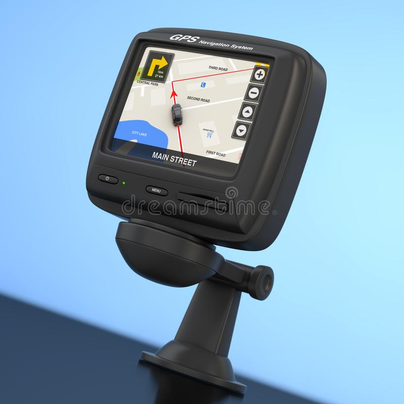 Navigation and Global Positioning System GPS Device with Navigation City Map on the Screen. 3d Rendering. Navigation and Global Positioning System GPS Device vector illustration