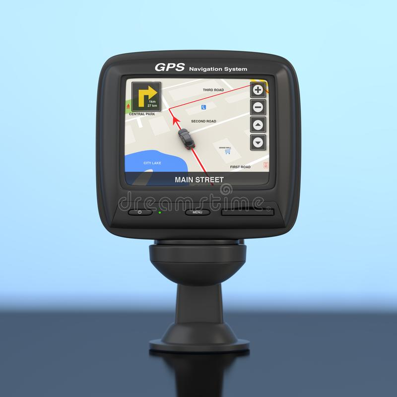Navigation and Global Positioning System GPS Device with Navigation City Map on the Screen. 3d Rendering. Navigation and Global Positioning System GPS Device stock illustration