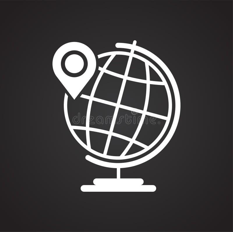 Navigation global positioning system icon on black background for graphic and web design, Modern simple vector sign. Internet. Concept. Trendy symbol for vector illustration