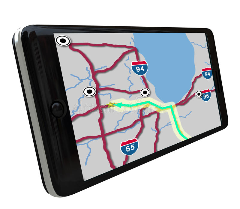 Navigation GPS Software on Smart Phone royalty free illustration