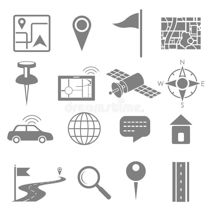 Navigation icon set for GPS application royalty free illustration