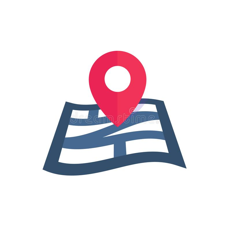 Navigation icon on white, map and mark. Flat style stock illustration